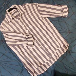 NWOT: Blue and White Stripe Blouse
